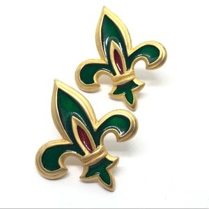 🆕Gold & Green Enamel Fleur De Lis Earrings